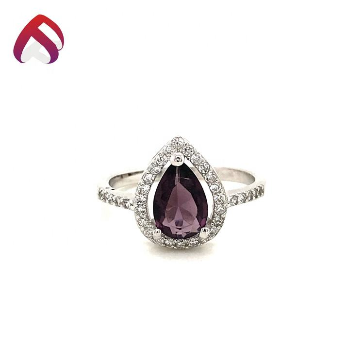 Engagement 925 sterling silber schmuck amethyst cz ring set