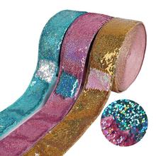 "3"" Gold/Pink Blue Hologram Iridescent Bow Accessories DIY Ribbon Sequin"