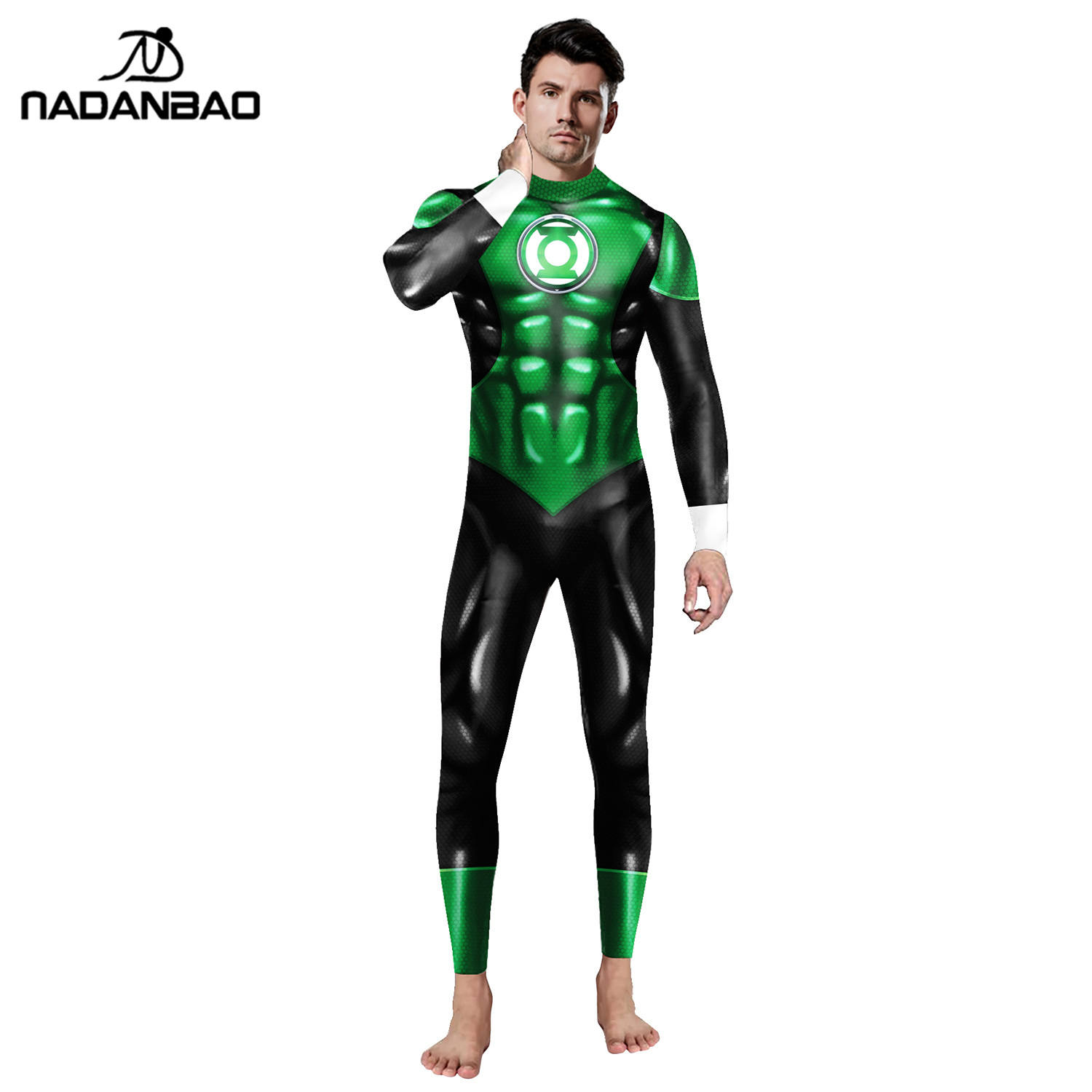 NADANBAO Brand 2020 Halloween Cosplay Costumes For Men Comic Movie Green Lantern Hero Jumpsuit Carnival Cosplay Costume