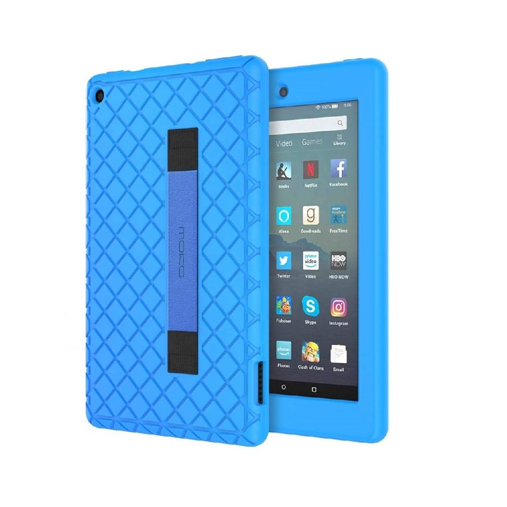 MoKo Colorful Soft Silicone Anti-slip Back Cover case with Wrist Strap for Amazon Fire 7 Tablet 2019