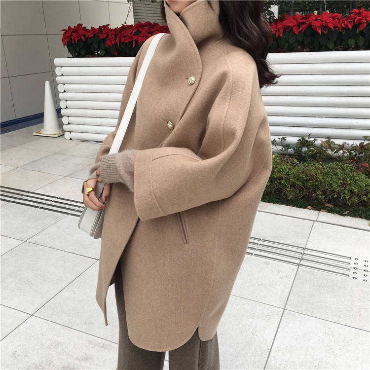 ASM ANNA High quality winter warm wool long coat single button plain dyed woolen lady coat