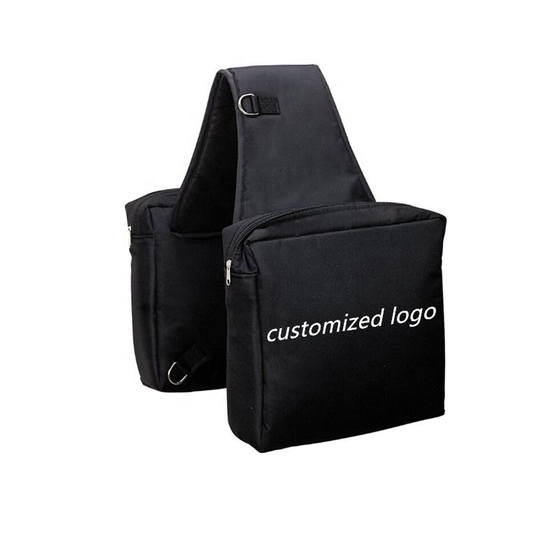 Customized logo fashion heavy nylon material high quality lightweight flexible outdoor equestrian sports saddle bags for horses