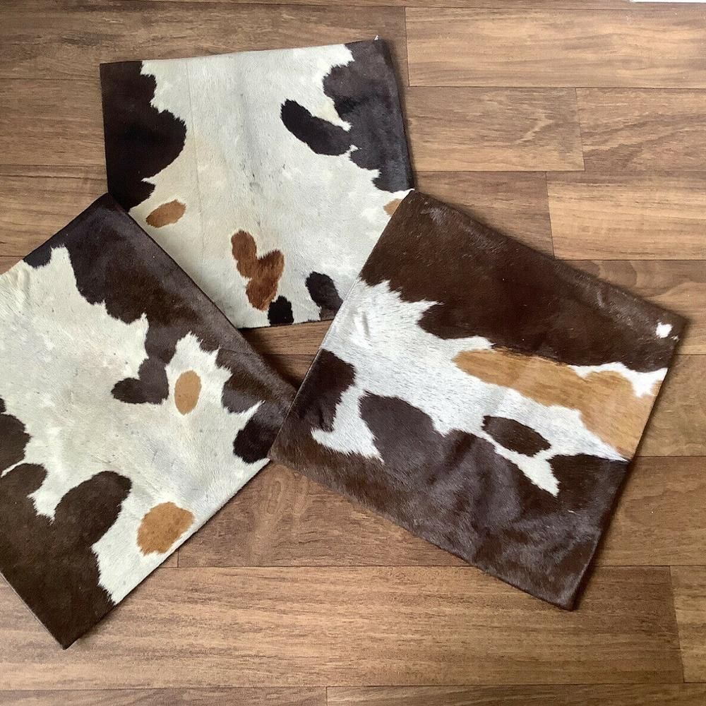 NEW Cowhide Square CUSHION COVER, Cow Skin 100% Genuine Leather Unique and Rare