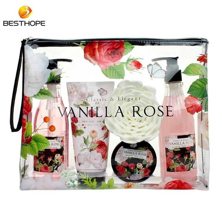 Custom Lady floral design pvc bag body wash bath gift sets women travel