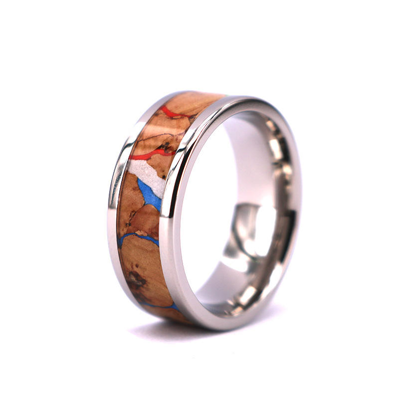 New Style Fashion Colorful Wine Cork Wood inlay Tungsten Rings,Cork Ring Mens Wedding Band