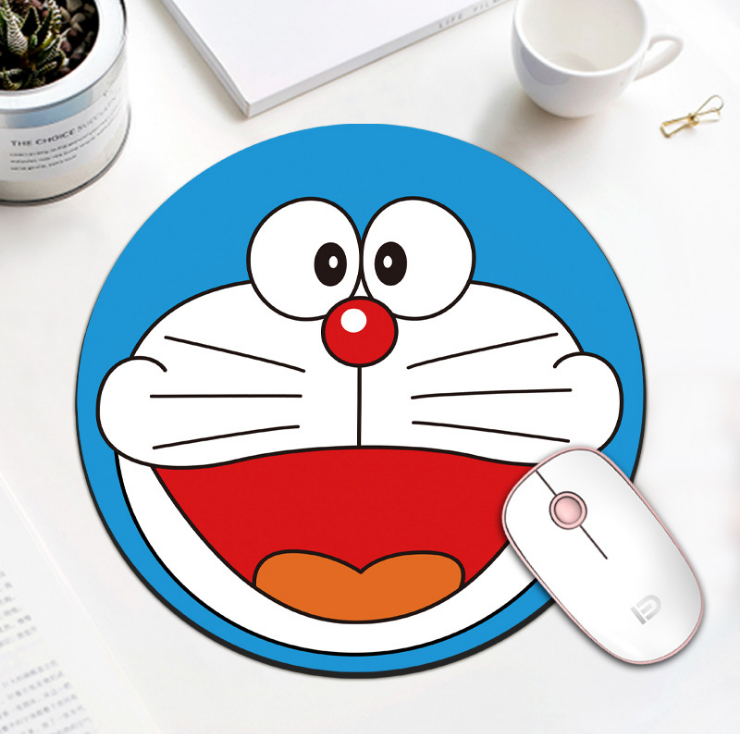 Mouse pad thickening cute girl cartoon round trumpet can be customized mouse pad