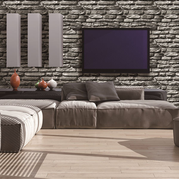 Contemporary sound-absorbing Italian style 3D grey brick wallpaper wall covering
