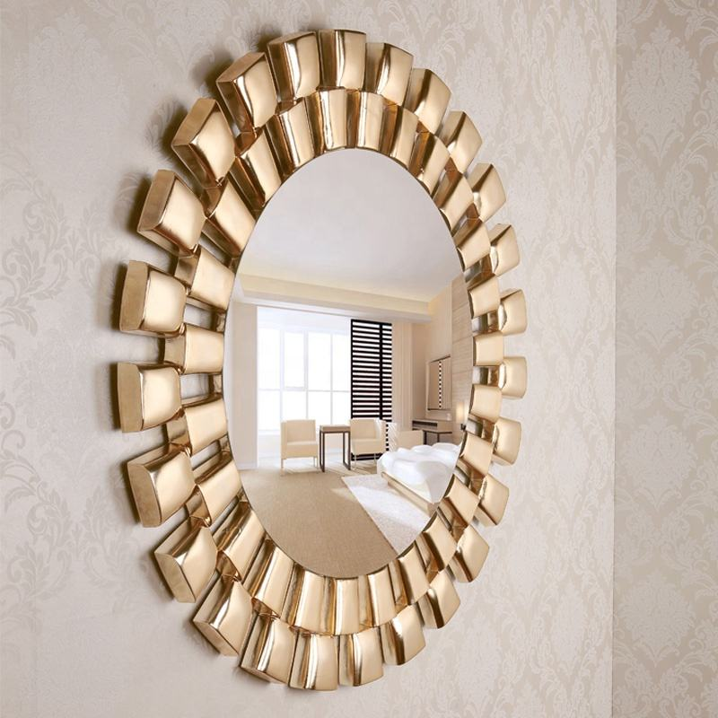 Antique Big Size Gold living room Round decorative Wall mirror mirrors decor wall