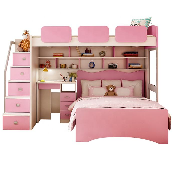 Space Saving Kids Twin Loft Bunk Bed with Desk Bunk Bed Kids Removable Bunk Bed