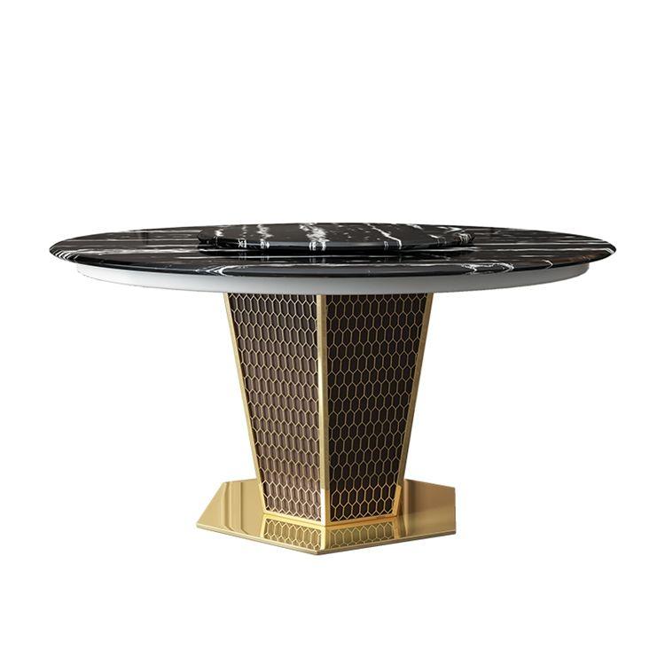 Nordique luxe en nid d&#39;abeille en métal jambe moderne en marbre plateau tournant rond tables à manger et <span class=keywords><strong>chaises</strong></span> ensemble