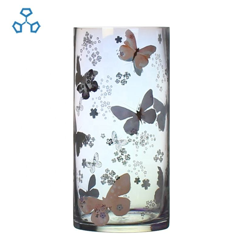 butterfly decal cylindrical flower glass vase for home decor