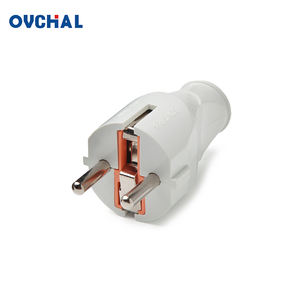OUCHI European Type 2 Round Head ABS Body 250V Ac Power Electric Plug