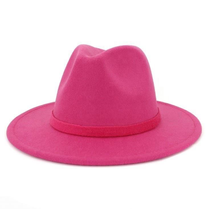 Solid Color Round Top Fedora Wool Felt Hat For Women
