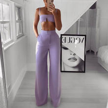 Sexy Summer Two Piece Set Spaghetti Strap Crop Top And Long Pants 2 Pieces Women Party Nightclub Outfits Y12029