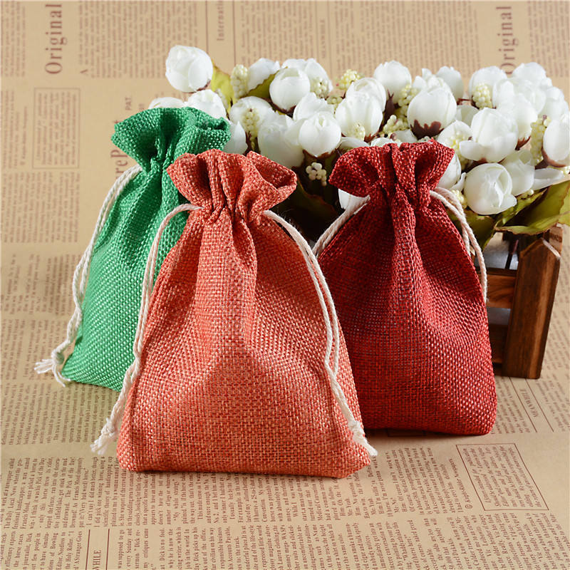 Vintage Retro Drawstring Burlap Gift Bags Wedding Birthday Party Bags Christmas Halloween Gift Wrapping Hessian Hemp Bags