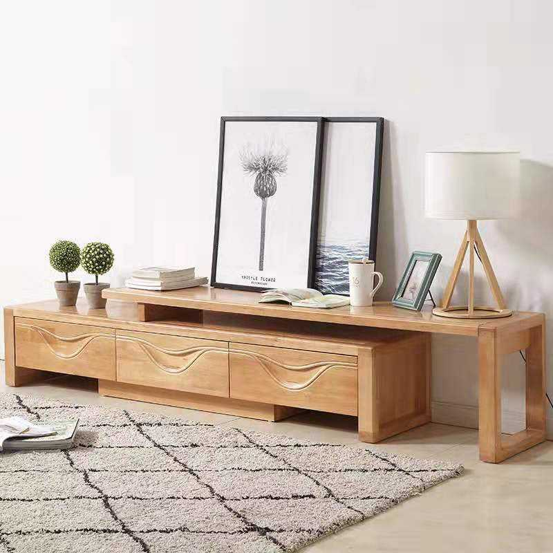 TV BENCH fashion furniture can pull and push tv stand high and low solid wood