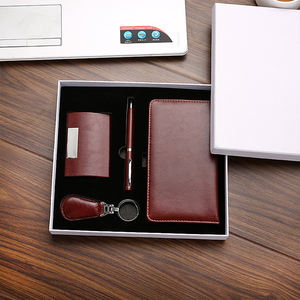 Custom customized Leather company corporate Business Card Holder promotional gifts Gift Set for Promotional Gifts