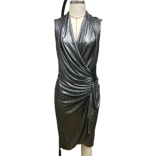 Fashion women dresses black sliver metallic sleeveless wrap club sexy party club dresses
