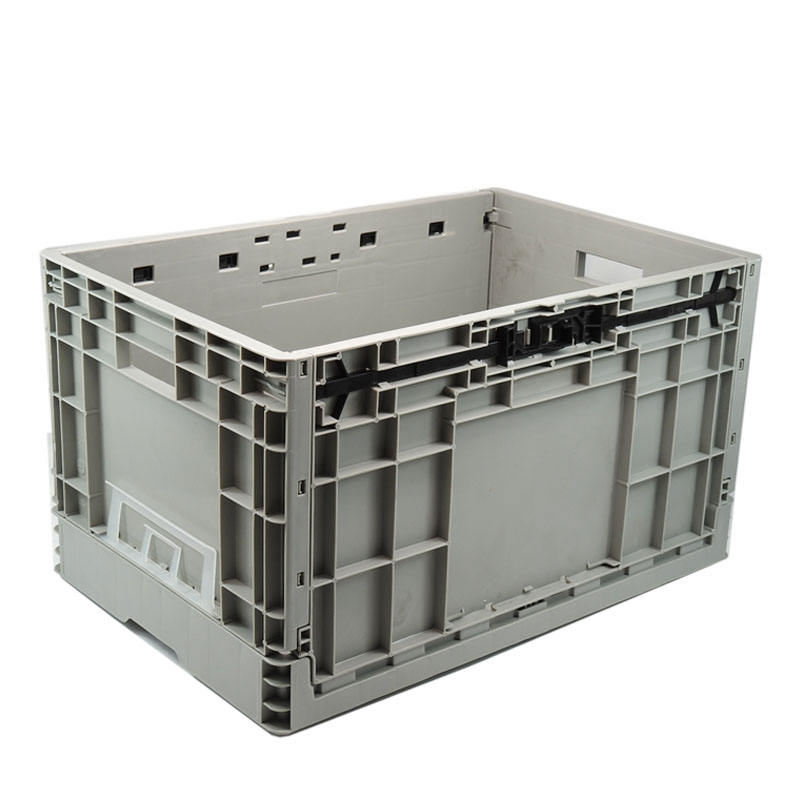 own design nestable stock solid foldable plastic crate with lids cheap price use for clothing