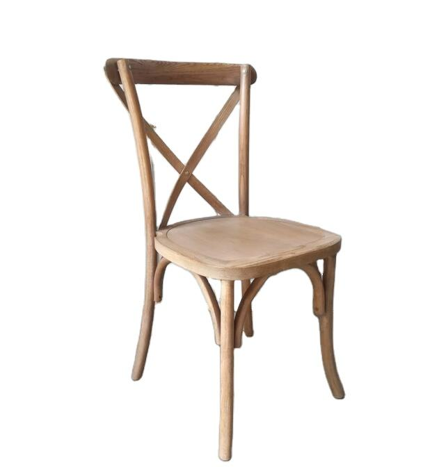 Brushed Antique color oak wooden cross back chair with wood seat for wedding