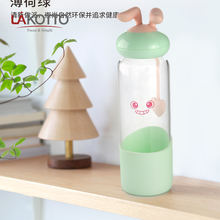 Factory Custom Gift Box Promotion 2020 350ml cute glass bottle with silicone cover