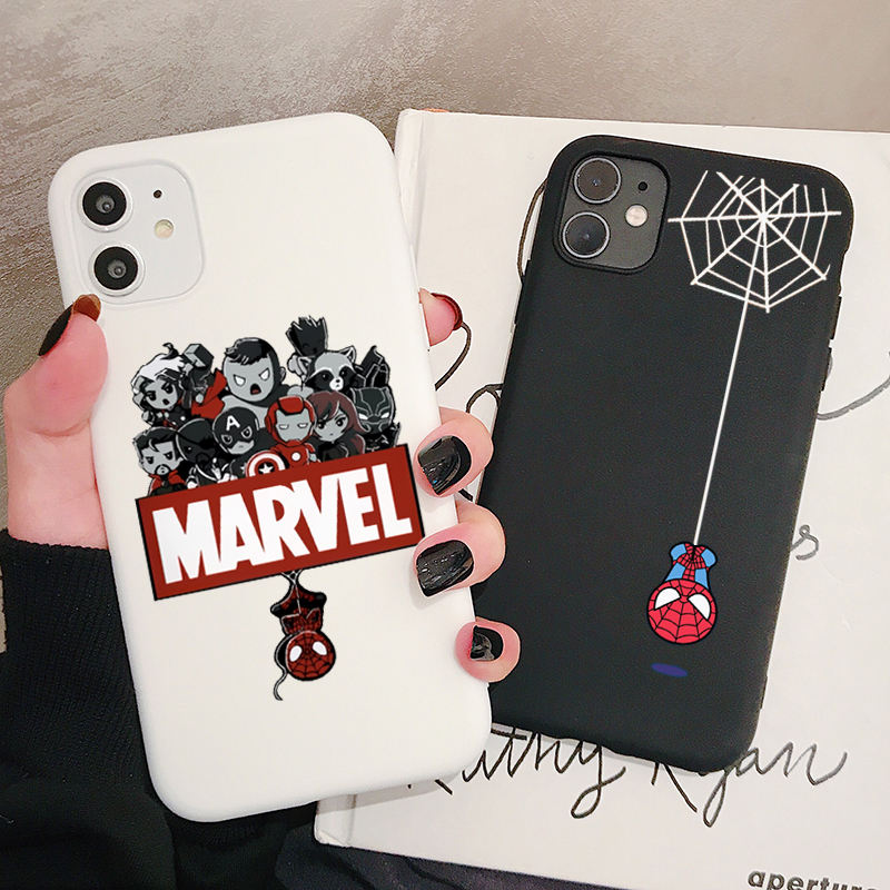 Marvel Spider Man Phone Case for iPhone Case for iPhone 12 11 Pro Xs X XR Max 8 7 SE 6 6S Silicone Cases Soft Black Cover