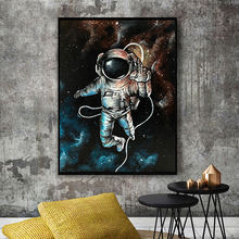 Astronaut Space Dreaming Canvas Printing Paintings Solar System Planets And Moons Wallpaper Posters Space Science Home Decor