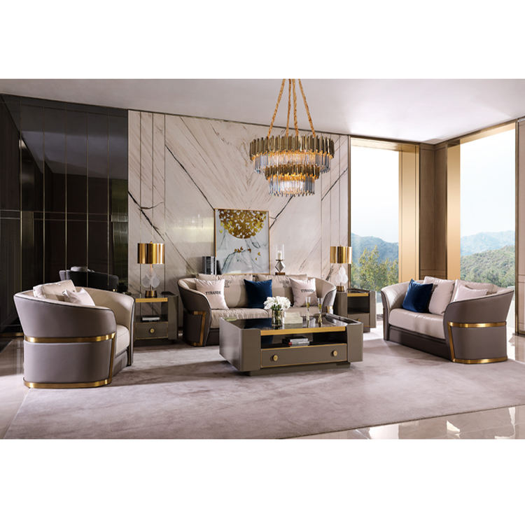 Best selling design wooden leather inlaid gold-rimmed sofa 6 seater modern sofa sets