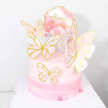 Amazon Hot Sale Pink Vivid Butterfly Creative Design Wholesale Paper birthday Cake Topper
