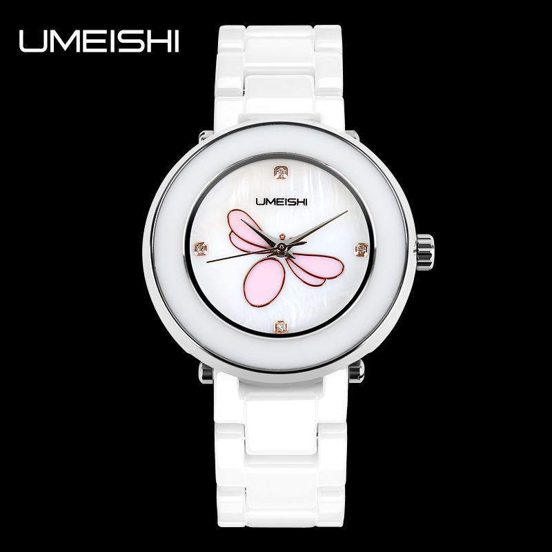 SKMEI White ceramic shell dial stainless steel back water resistant watch brands Chinese