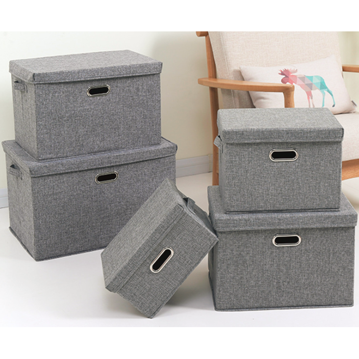 5 Sizes oldable Storage Boxes with Lids,Jute Fabric Collapsible Storage Bins Organizer Containers Baskets Cube with Cover