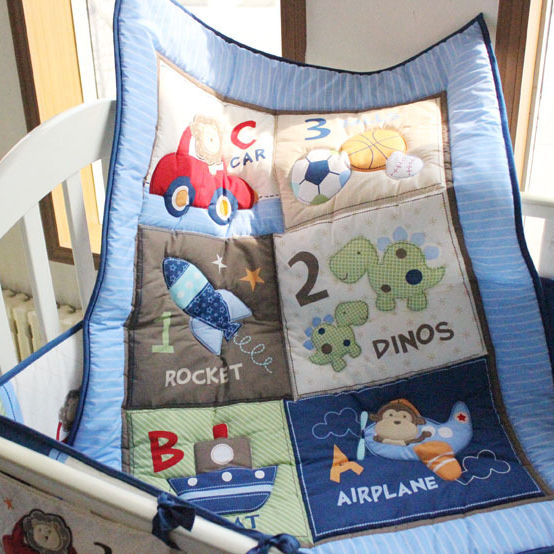 Blue Pilot embroidered Baby Crib Bedding Set 4 Piece