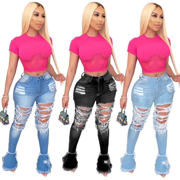 New Fashion Sexy Mujer Long Bell Bottom Pants High Waist Hollow Out Skinny Streetwear Distressed Women Flare Denim Jeans