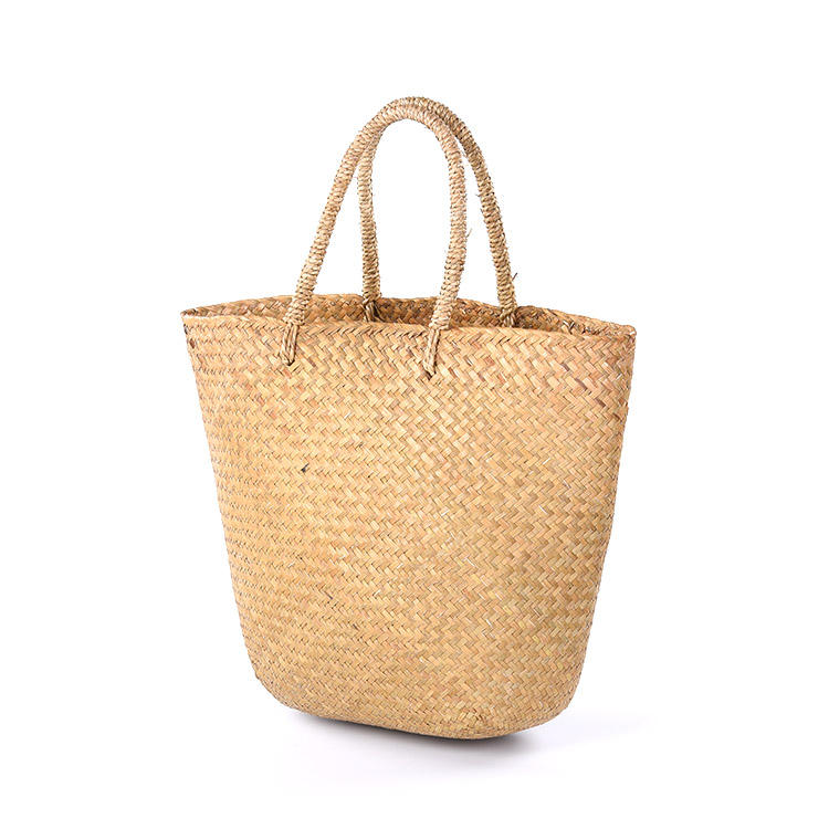 Hot Selling woman summer beach bags straw bag bamboo handbag