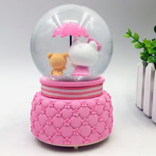 Little bear and kitten snowglobe glass water globe christmas snow globe