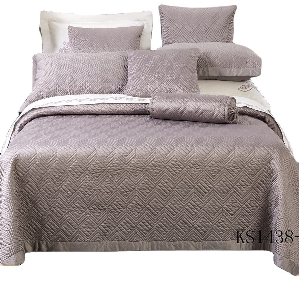 3pcs king plain quilted queen satin bedcover