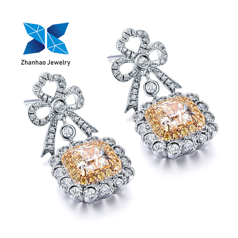 Zhanhao Jewelry yellow diamond imitation radiant cut lab grown diamond latest 14K gold plated tassel earring designs