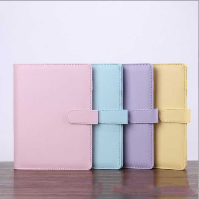 Wholesale A4 A5 A6 File Holder Loose Leaf PU Leather Notebook Binder with Prong Rings for Students Journal Business