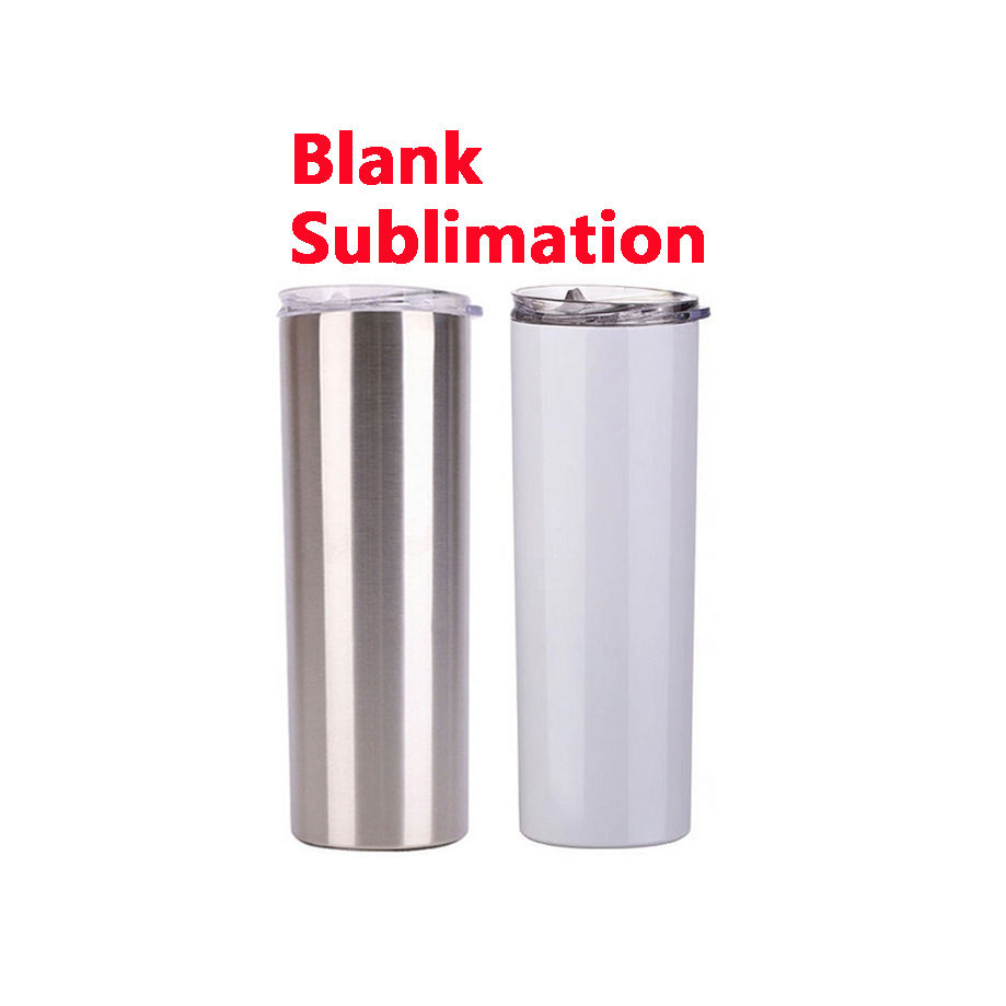 Blank sublimation 20oz stainless steel skinny cup double wall insulated travel coffee mugs white sublimation tumbler blank