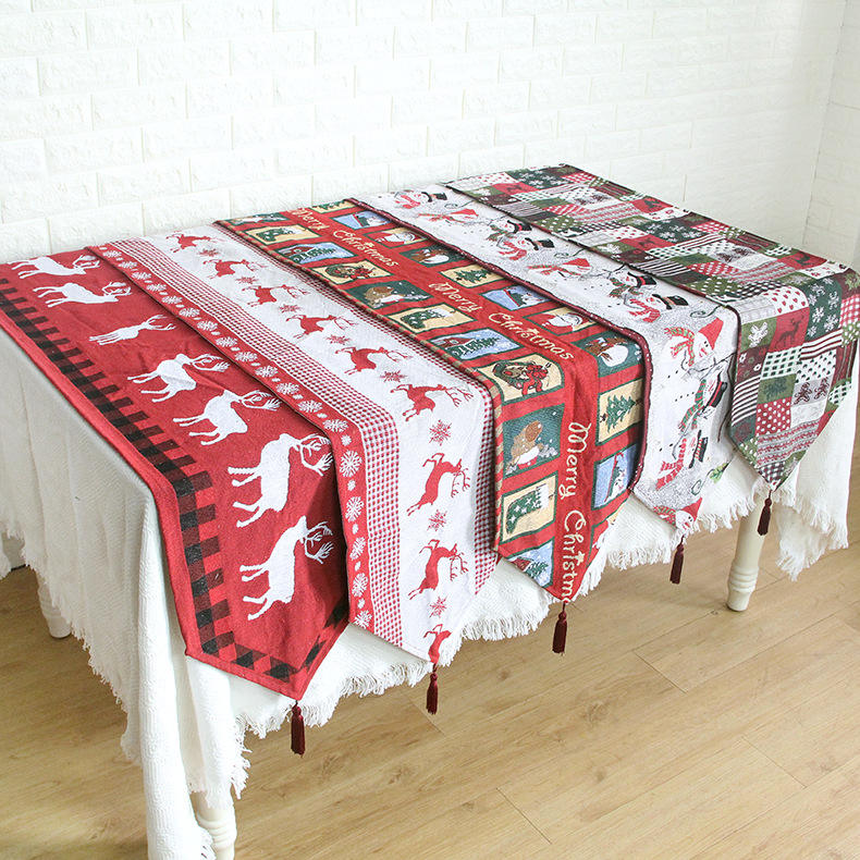 Beautiful Jacquard Polyester Cotton Fabric Christmas Decoration Table Runner