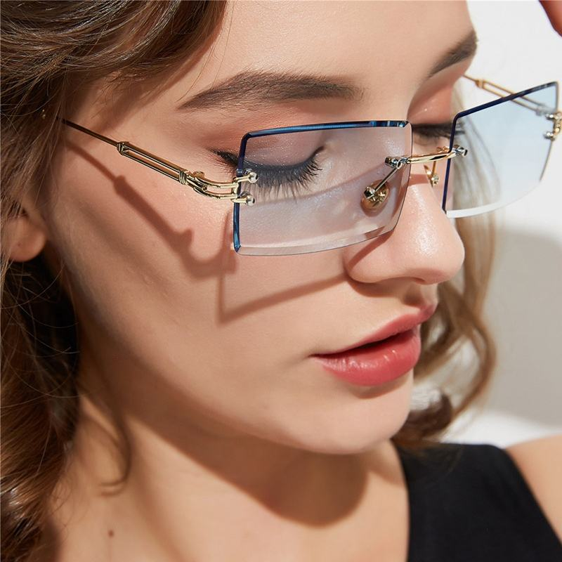 2020 Hot Sale New Trendy Women Metal Shades Square Rectangle Frameless Rimless Gradient Sunglasses