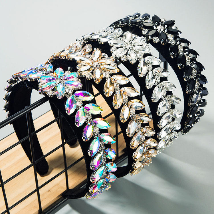 Hot Selling Wide Padded Multicolor Rhinestone Crystal Hair bands Color Sponge Baroque Diamond Headbands for Women