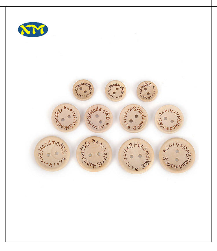 Scrapbook Sewing DIY Craft 15/20/25ミリメートル2-Holes Handmade Love Round Wooden Buttons