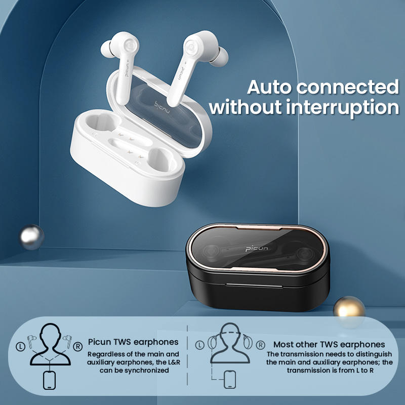 Picun W20 Compact Design JL6936 V5.0 Touch Control 4Hrs Play Time HD Sound TWS earbuds with Charging case