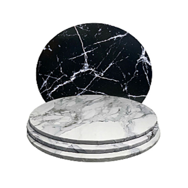 "6 mm thick White Compressed Marble-Effect Board 8"" White Round Masonite Cake Board Marble Pattern"