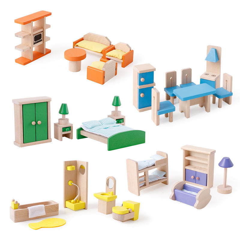 New style hot sale high quality wooden doll house furniture accessories natural solid wood furniture toys