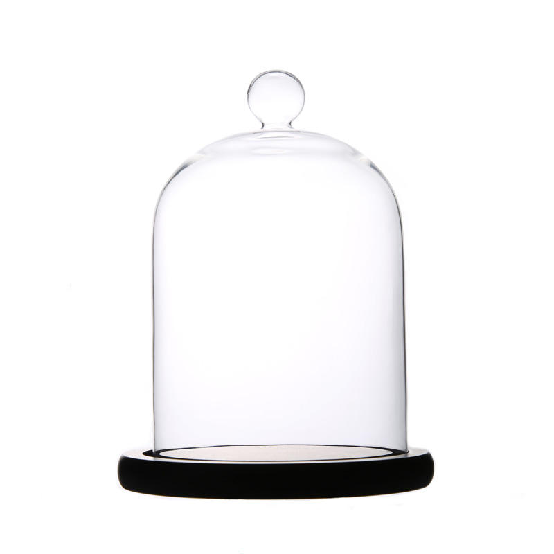 Blown Clear Glass Domes with Black Base for Wedding Gift Middle Glass Cloche House Decoration