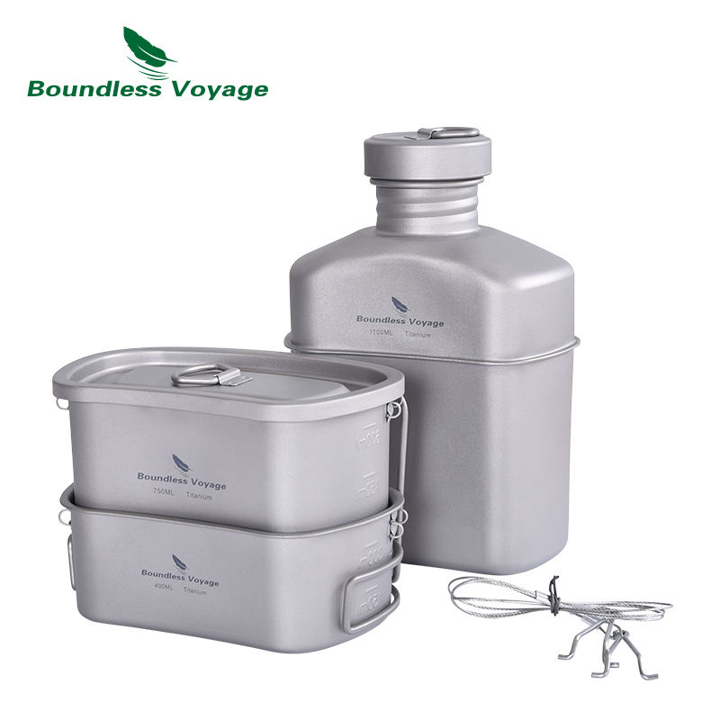 Boundless Voyage Titanium Army Water Bottle Military Canteen Travel Picnic Bowl Camping Bag Lunch Box Pot Set with Bag
