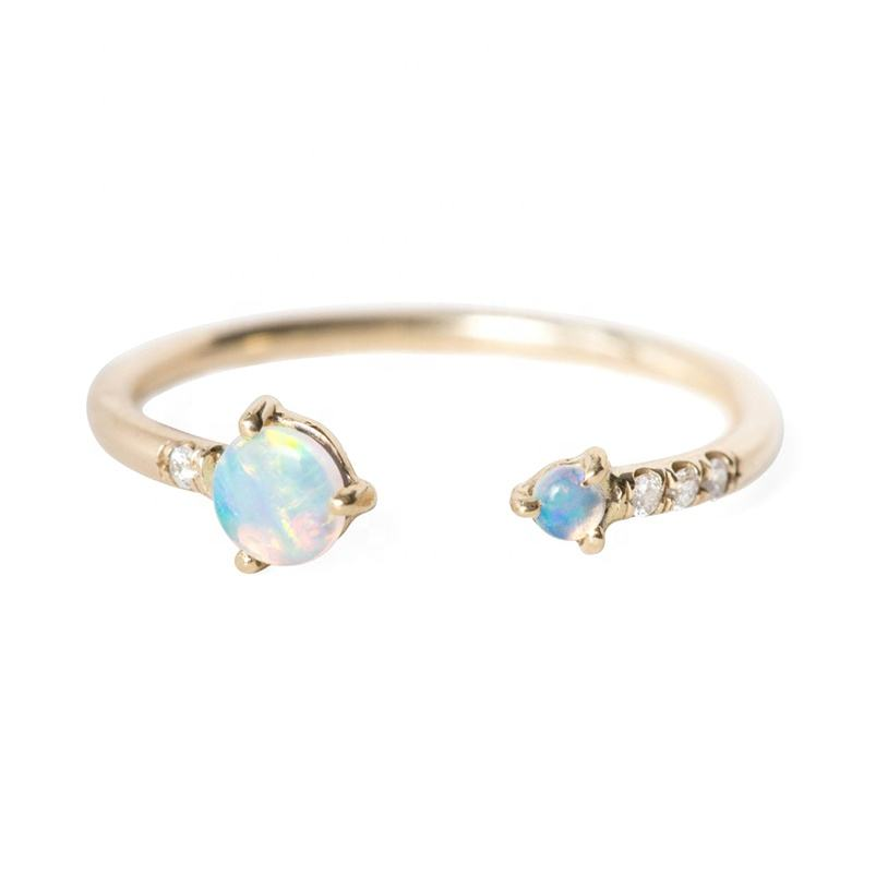 Christmas jewelry delicate diamond adjustable sterling silver opal wedding ring