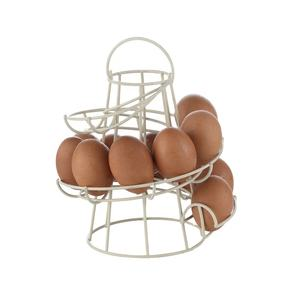 2020 Factory Wholesale Fengyue Kitchen Swirl White Metal Wire Stand Holder Egg Rack